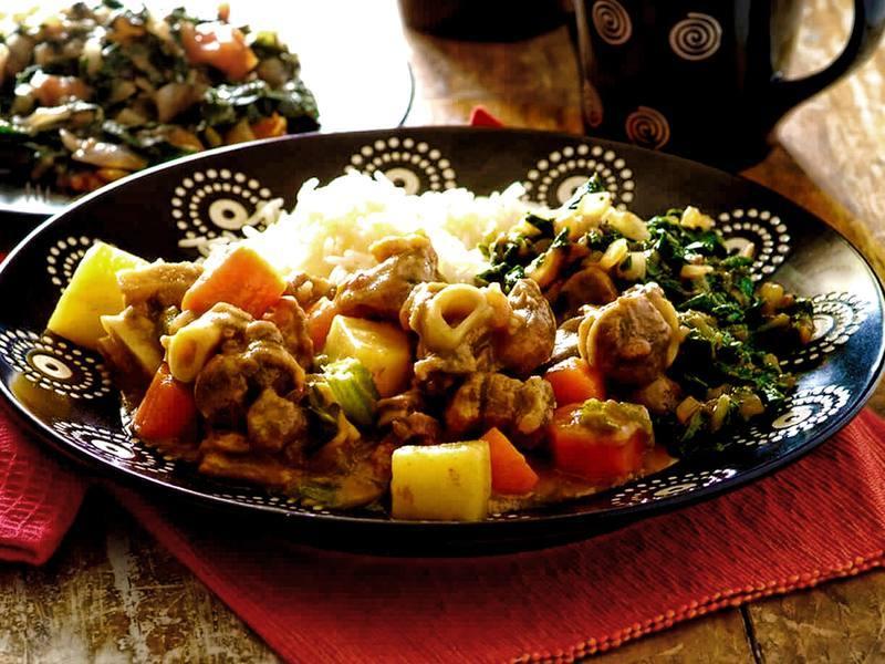 Mutton Stew served with Spinach