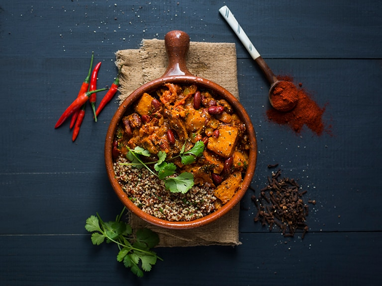 Curried Butternut Red Kidney Bean and Quinoa Stew