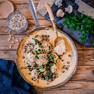 Mushroom and Cowpea Meatballs with Creamy Mustard Sauce