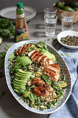 Wild Rice Chicken Salad with Baby Marrows and Avocado