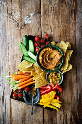 Spicy Cowpea Hummus with Crunchy Vegetables
