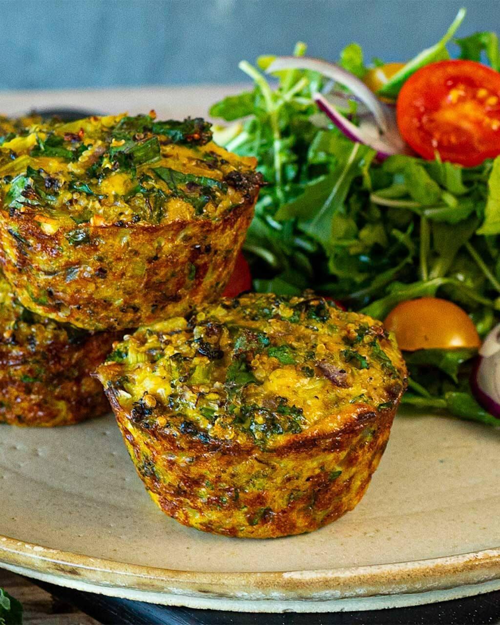 Muffins frittata de quinoa y brócoli con un toque de Savora