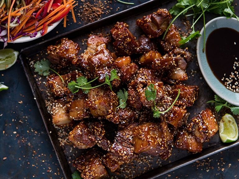 Caramelized Pork Belly with Asian Salad