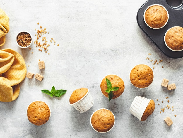 Muffins de naranja y granola