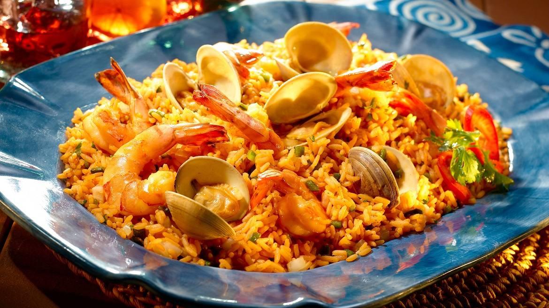 Paella express con frutos de mar