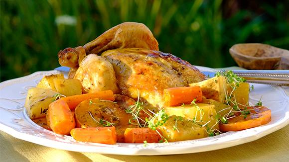 Lemon and Herb Roast Chicken with Autumn Veggies