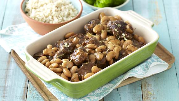 Lamb Knuckle Stew with Red Wine and Butter Beans