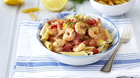 Pasta with Creamy Chilli-Garlic Prawns