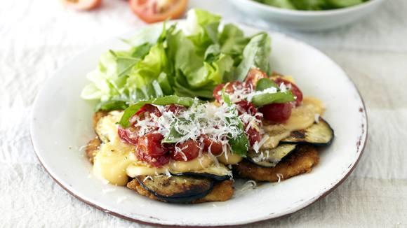 Chicken Schnitzels with a Cheesy Mediterranean Topping