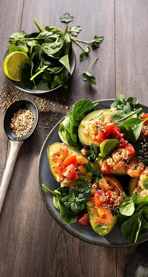 Avocados with Prawns, Quinoa and Spinach
