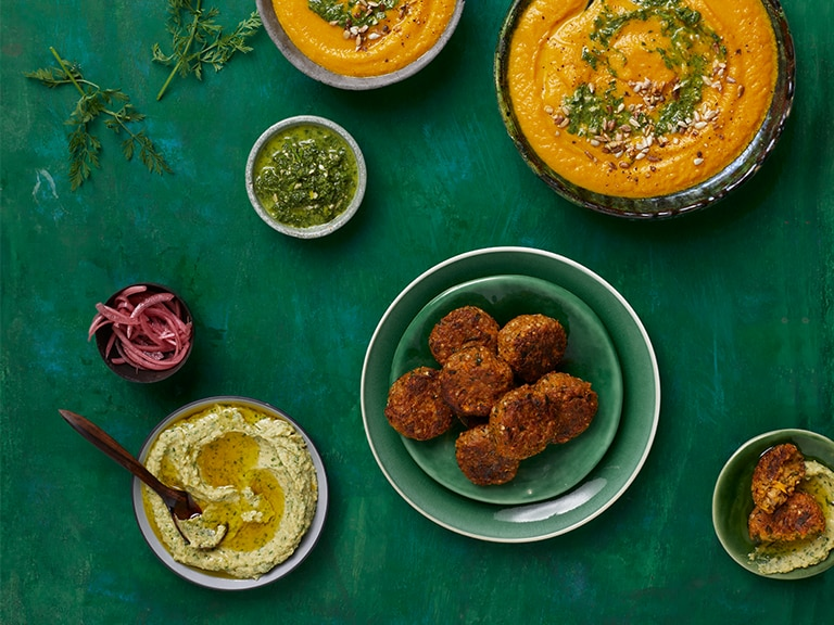 Bulgur Wheat and Chickpea Balls with Coriander Hummus
