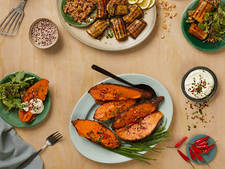 Baked Sweet Potatoes with Sour Cream and Chives