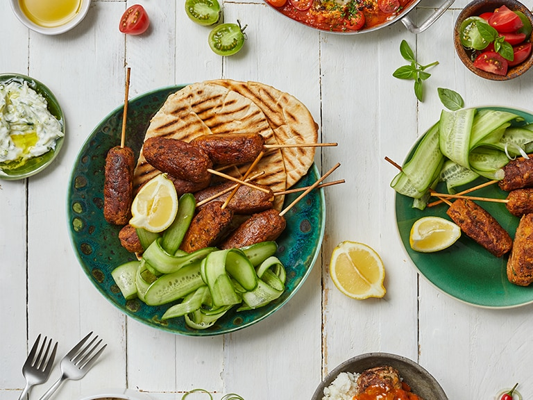 Chickpea and Vegetable Koftas with Tzatziki and Naan Bread