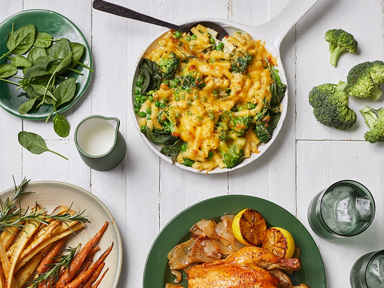 Green Mac and Cheese with Broccoli, Spinach and Peas