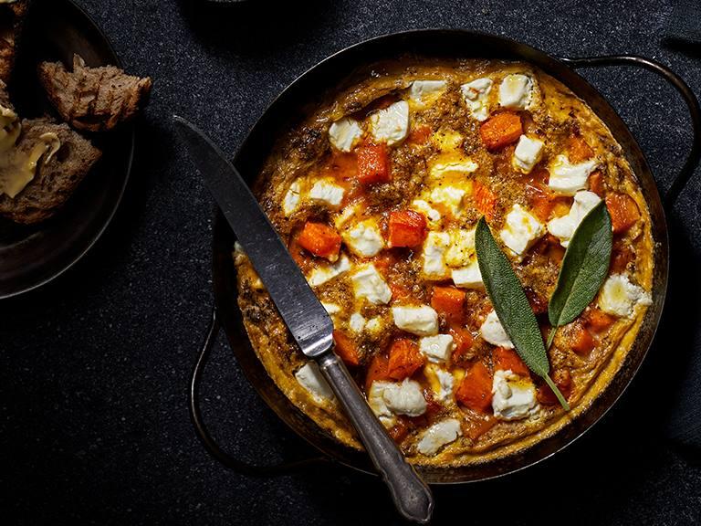 Pumpkin, Goats Cheese And Sage Frittata