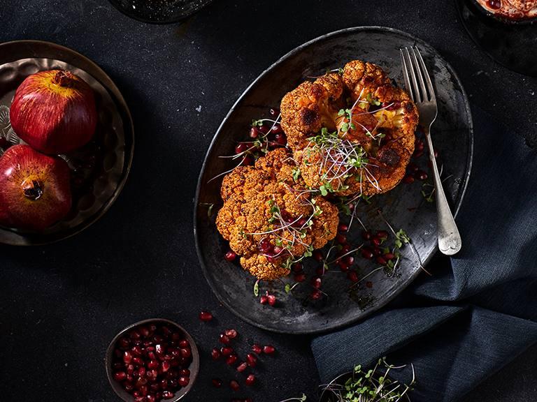Spicy Oven Roasted Cauliflower With Harissa Yoghurt
