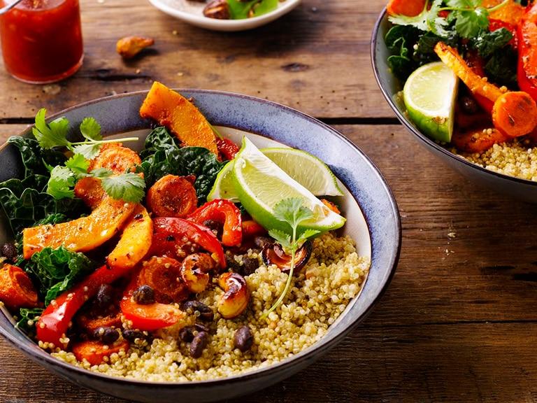 Quinoa Vegetable Bowls with Honey Roasted Cashews
