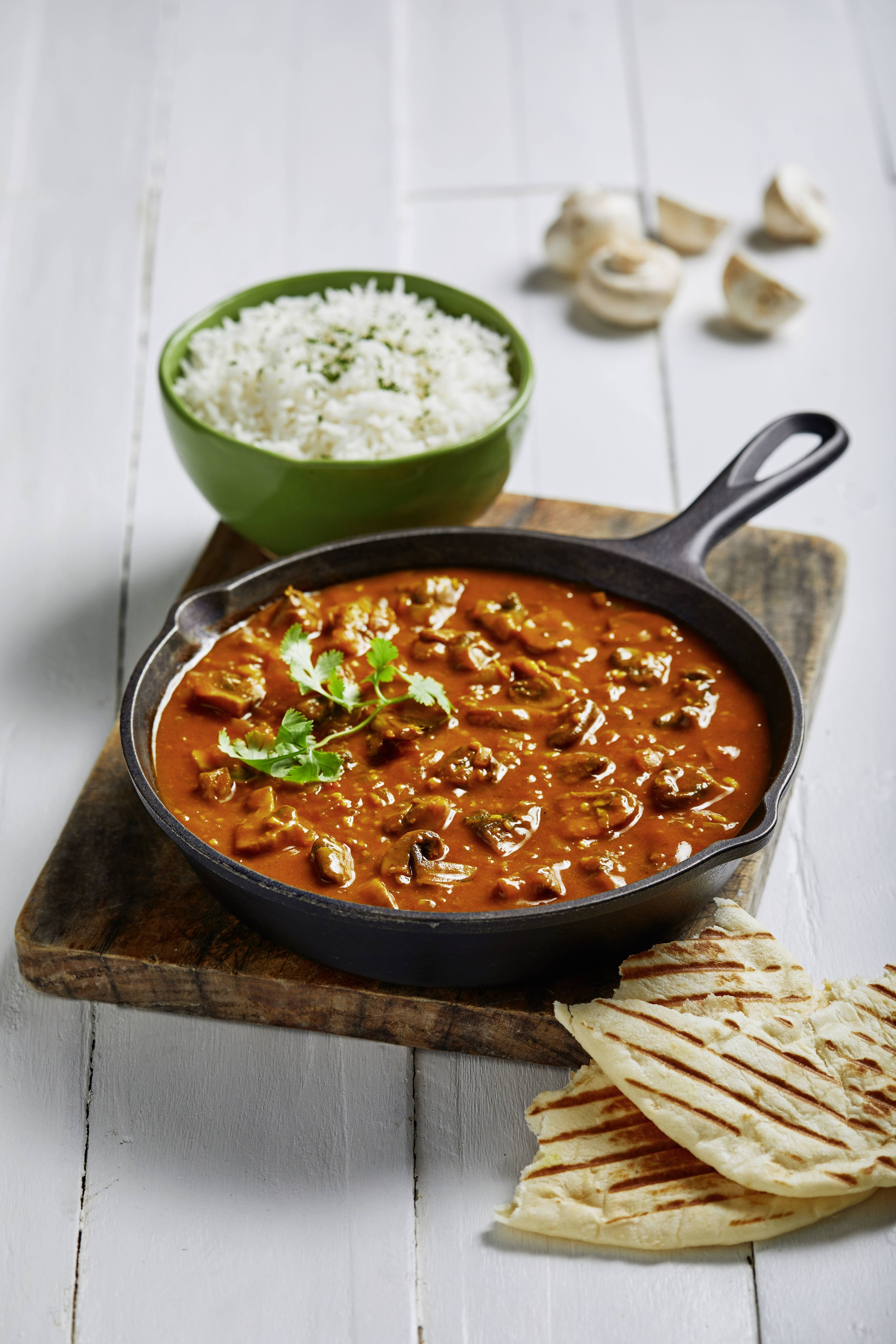 Spicy Mushroom Curry with Naan Bread and Rice