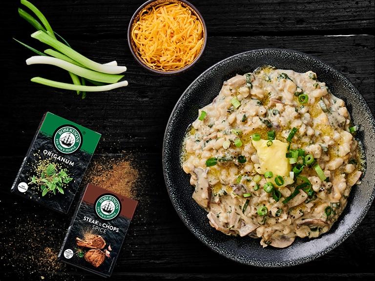 Mushroon and Spinach Samp Risotto
