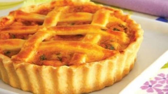 Minitorta de palmito con camarones