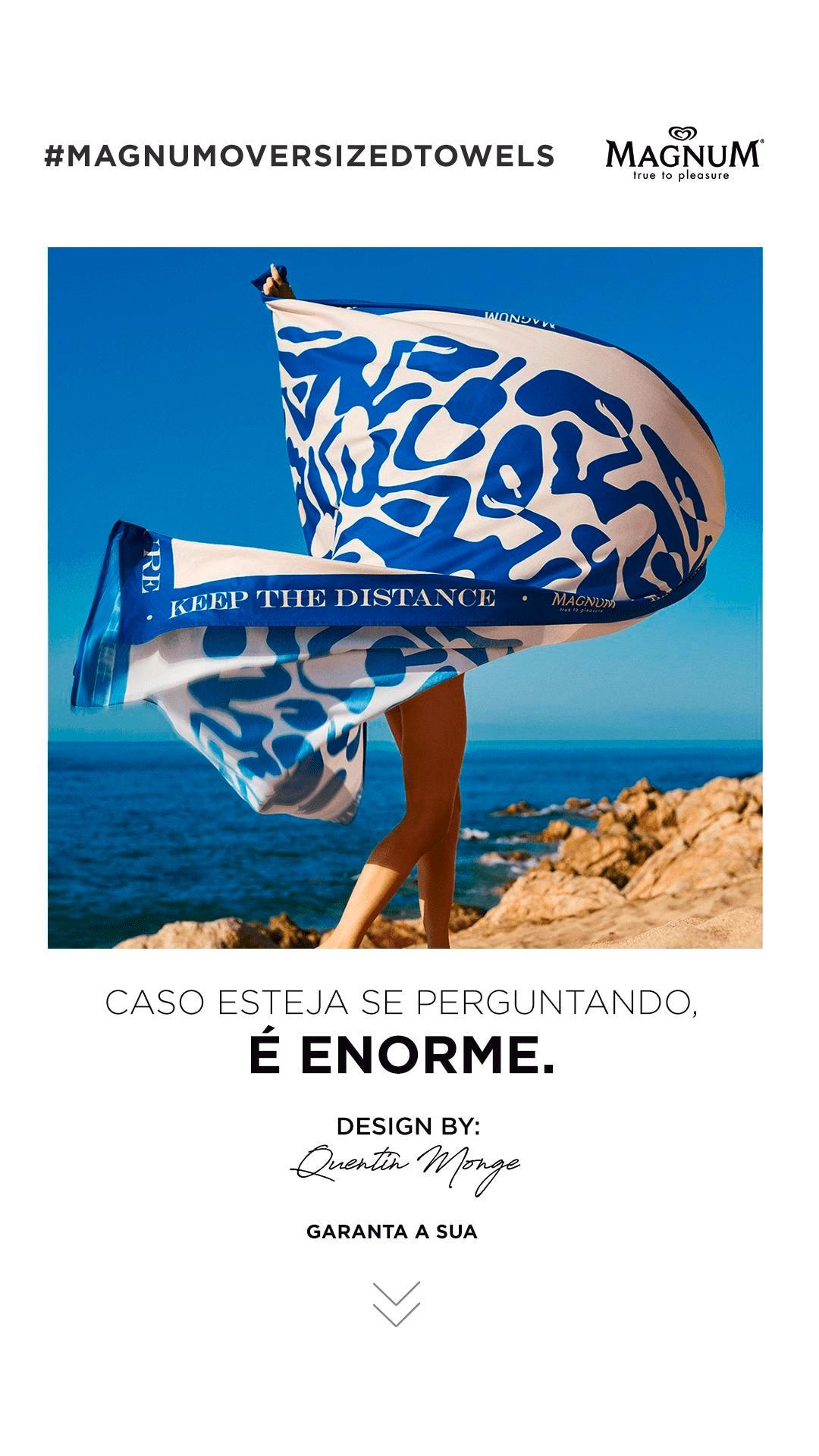 Foto da toalha projetada por Quentin Monge. Abaixo, a frase: Caso esteja se perguntando, é enorme. Seta para baixo indicando um botão para garantir a sua toalha.